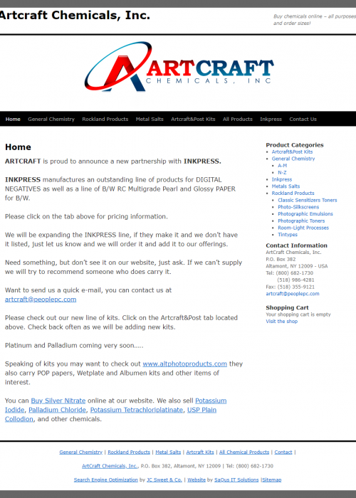 Artcraft Chemicals web site screenshot