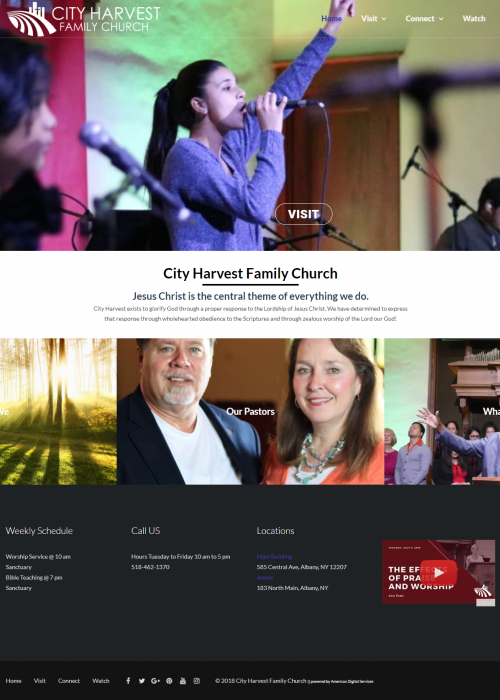 City Harvest Family Church web site screen shot