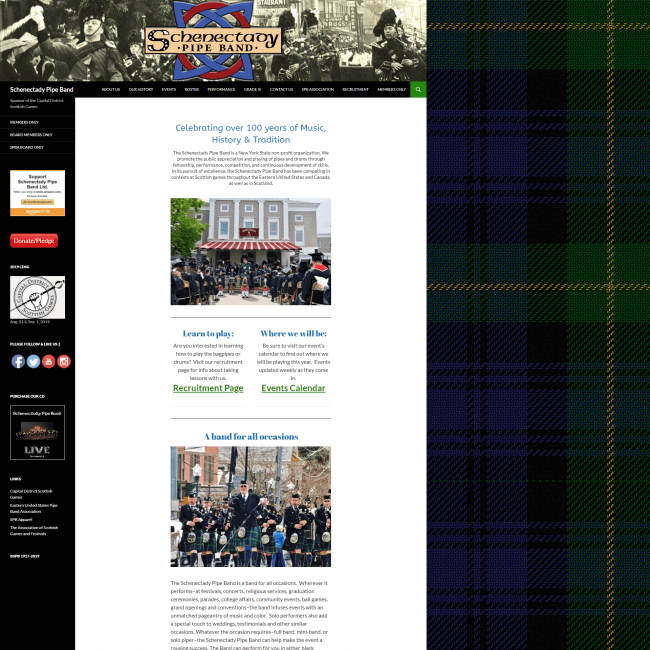 Schenectady Pipe Band web site screenshot