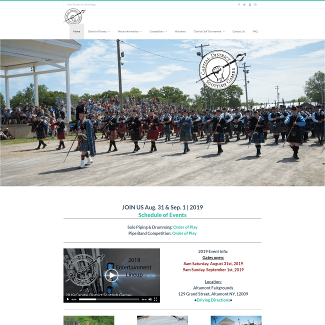Capital District Scottish Games web site screenshot